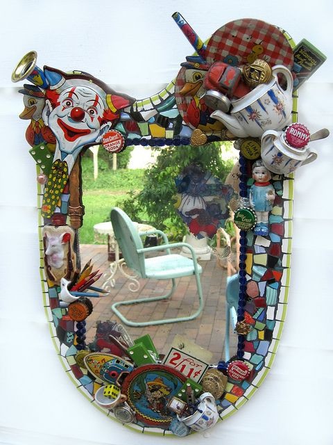 vintage toy mosaic mirror    i just LOVE this kind of mosaic!