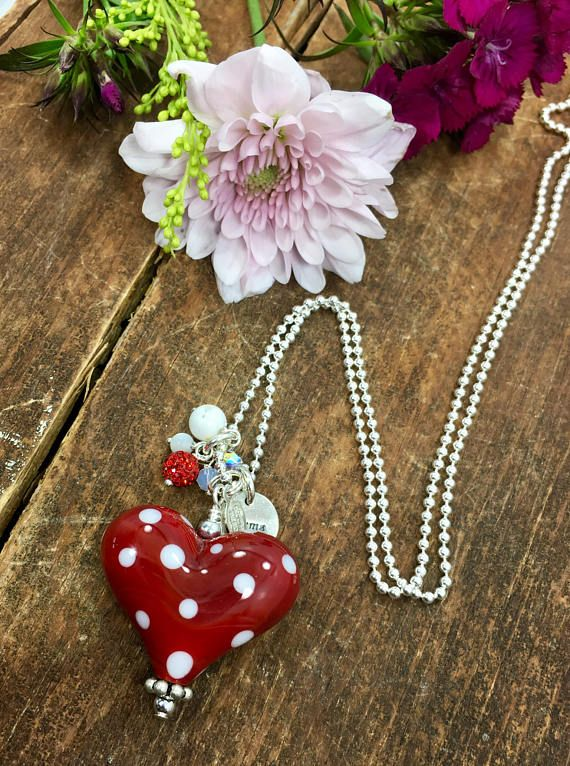 ♥︎ Red Heart Necklace. Polka Dot Necklace. Heart Pendant. Glass Heart Necklace. Mother's Day Gift. Minnie Mouse Necklace. Womans Necklace. Studio BB Designs ♥︎