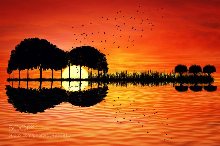 guitar island sunset Trees arranged in a shape of a guitar on a sunset background. Music island with a guitar reflection in water