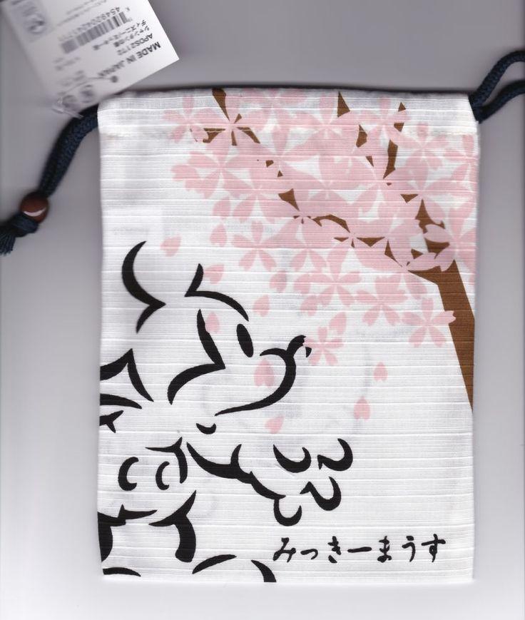 Japanese Kinchaku Pouch Disney Mickey Mouse Sakura
