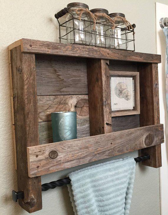 Reclaimed Wood Bathroom Shelf With Metal Towel Rack Wooden Pallet Projects Diy Pallet Furniture Diy Furniture
