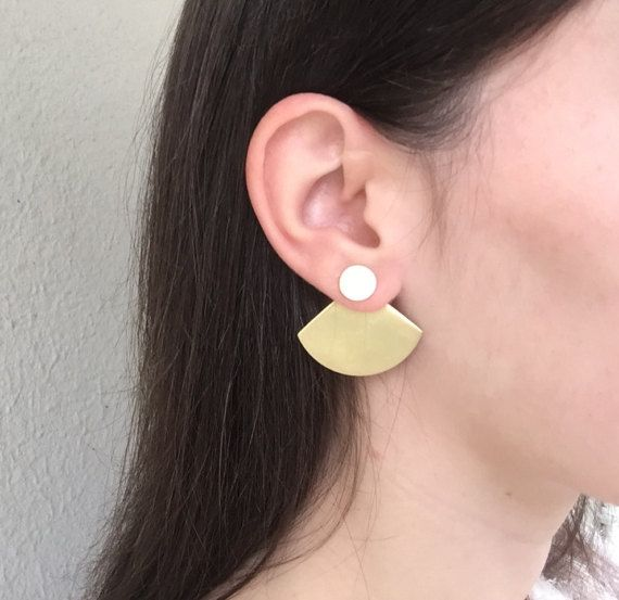 Cloelia ear jackets Brass Ear Jackets Gift for by NARCISSUSJEWELRY