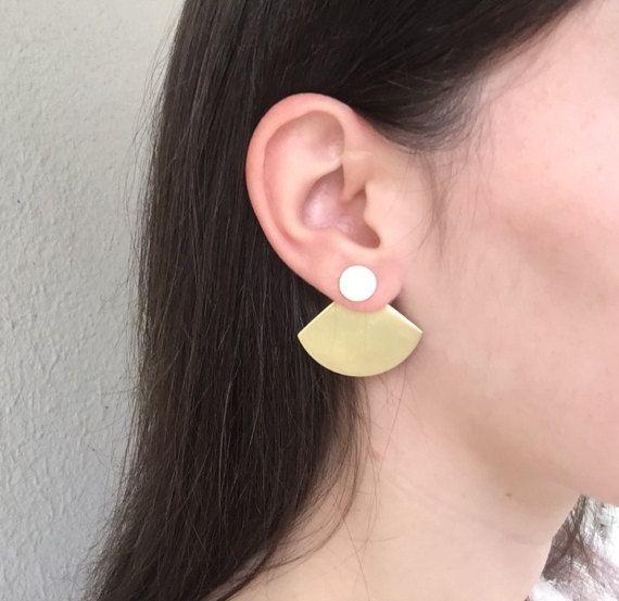 Cloelia ear jackets Brass Ear Jackets Gift for by NARCISSUSJEWELRY