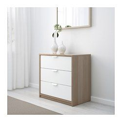 Ikea askvoll c moda de 3 cajones negro marr n blanco - Cajones de tela ikea ...