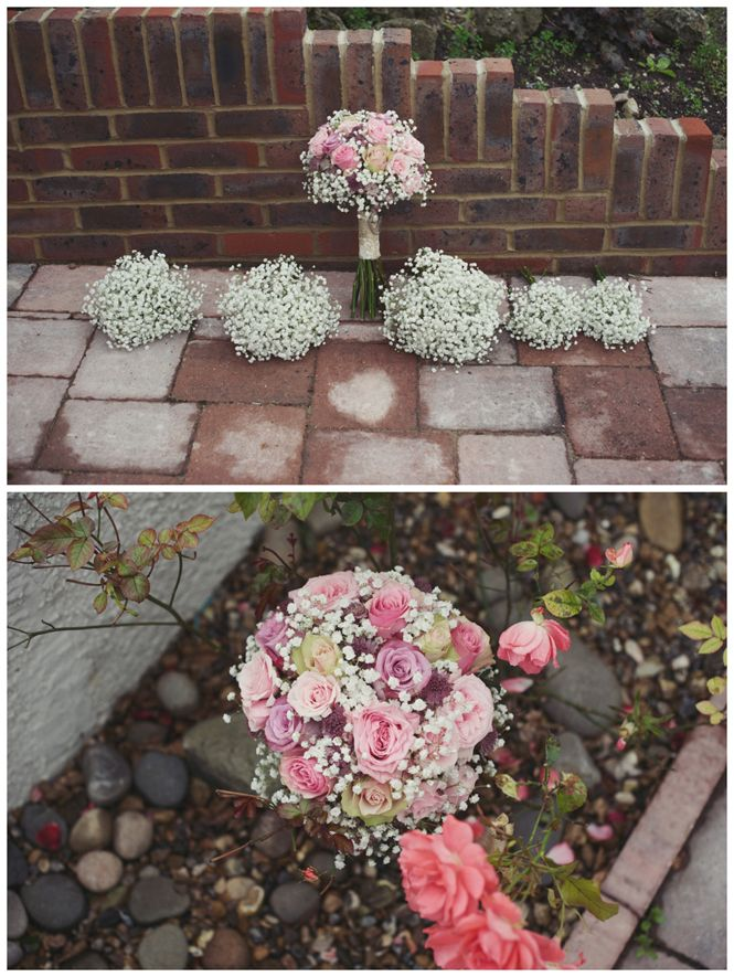 Pink, purple, roses, gyp, bouquet, wedding flowers Soft, natural, relaxed wedding photography - Kent Wedding Photographer - Rebecca Douglas Photography