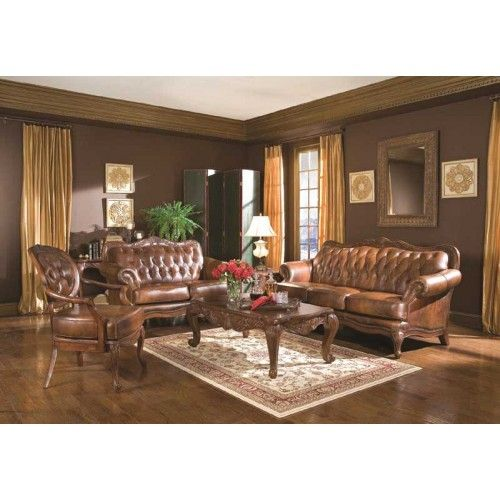 Coaster Furniture Victoria 2 Piece Living Room Set In Brown