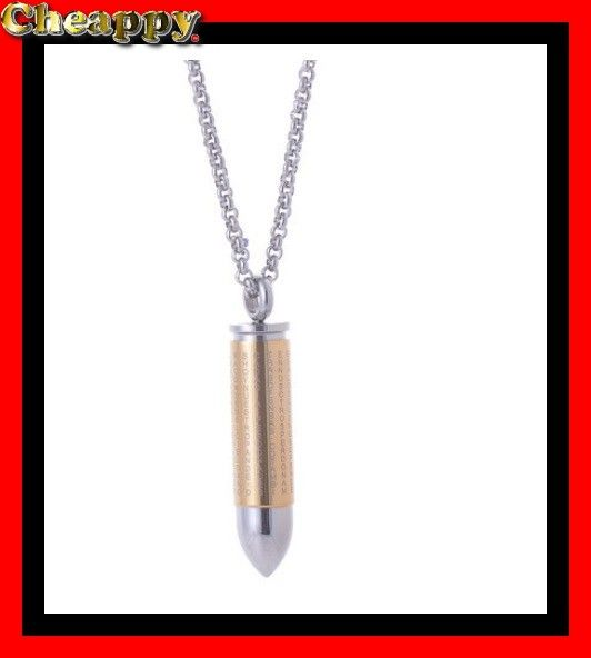 Mooie As hanger in de vorm van een Kogel of Bullet met Kruis en Bijbeltekst