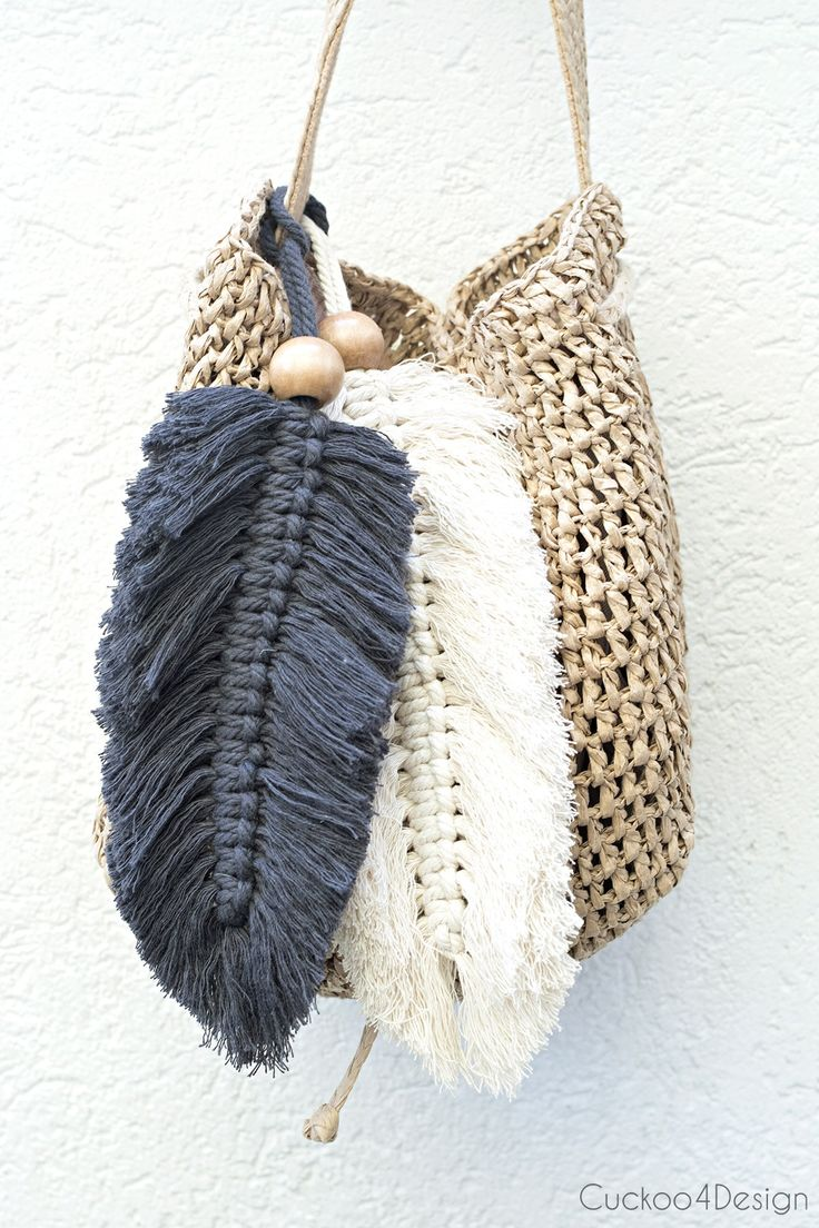 macrame feather purse charms | easy and stylish purse charm | boho purse charms …