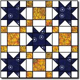 "Pattern I am using for both Dad's and Claire's quilts. Combination of Irish Chain and Sawtooth Star; each is 8"" across. The small squares are 2.5"" cut size; the rectangles (Irish Chain) and Flying Geese (star points) are 2.5x4.5"" cut size; and the center square in the star is 4.5"" cut size."
