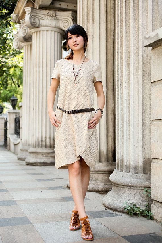 Beige linen Diagonal stripes sundress(more colour and size choice)