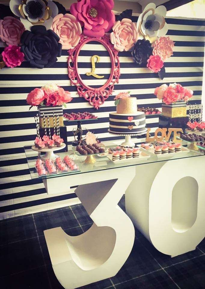 Black, white, pink and a little golden. Birthday Party Ideas | Photo 11 of 13