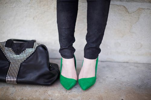 kelly green, swanky heels.