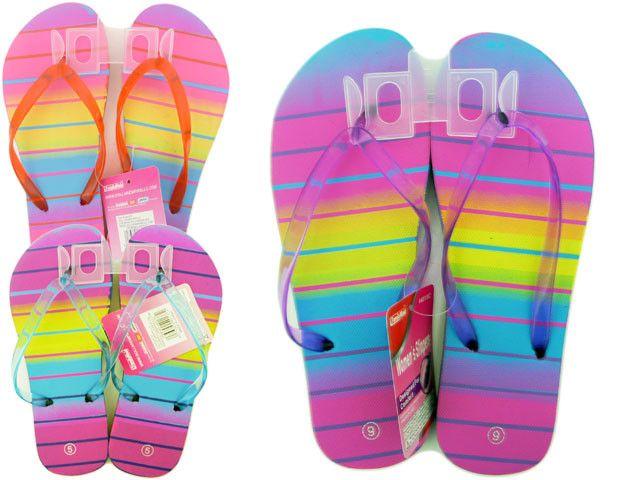 Wholesale Flip Flops, Bulk Lot of 72 Pairs in Assorted Colors, Style 44013C0, Ladies, Women, Trendy