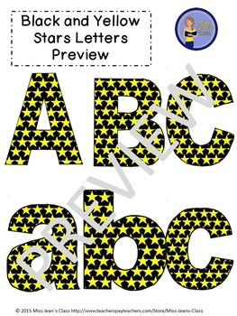 This set of clip art letters by Miss Jeans Class includes punctuation, upper and lowercase letters! These work great for educational and craft purposes. Use them for crafts, lesson plans, work sheets, word walls and decorating bulletin boards. The download includes 60 clip art images for personal and commercial use.#clipartletters, #letters, #stars, #yellow, #black