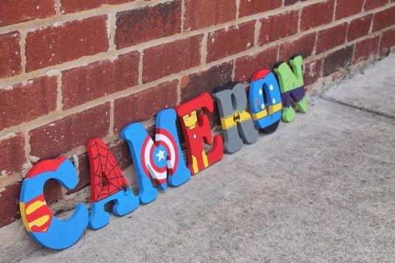 Letras de madera Letras/superhéroe de por BASECreations en Etsy