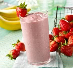 Banana Strawberry Smoothie: 1 banana, 5 or 6 strawberries (preferably frozen), 1/4 cup orange juice more or less, 3 tablespoons virgin coconut oil (liquefied), 3 tablespoons organic whole milk vanilla yogurt, 3 ice cubes and blend together!