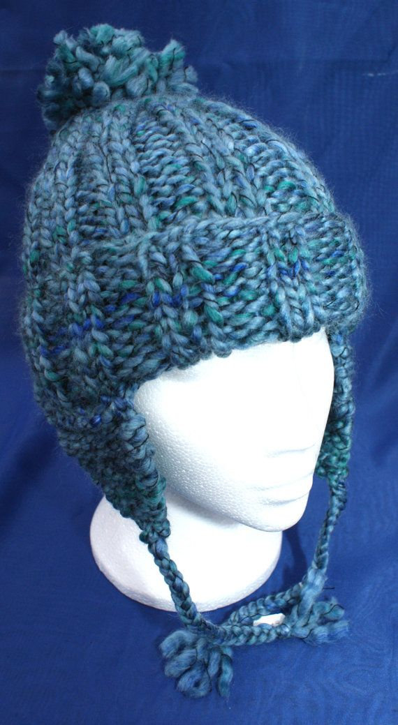 Hand knitted woolly ear flap hat with bobble in attractive 'Fjord Blue'. Handknit hat. Knit hat. Wool hat. Earflap hat with braids / plaits
