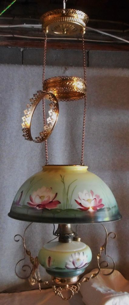 C1890s Victorian Hanging Library Oil Lamp Water Lily Flowers Shade Matching Font