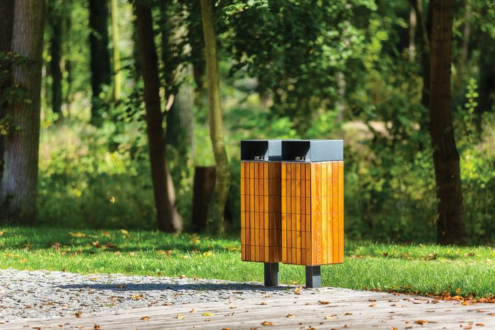 NANUK litter bin by mmcité. Wooden geometric beauty. www.mmcite.com
