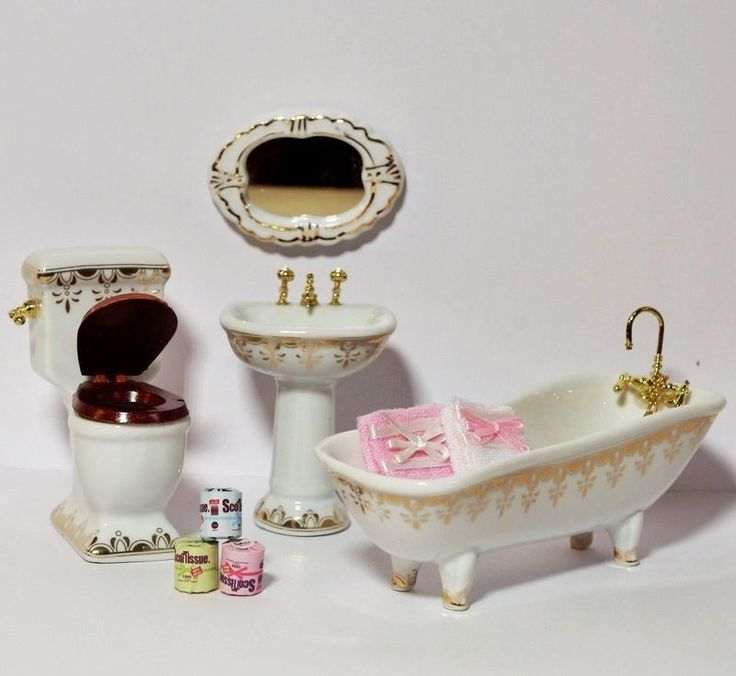 Angebot Badezimmer + Zubehör Weiß/gold Puppenhaus Bad Puppenstube 1:12