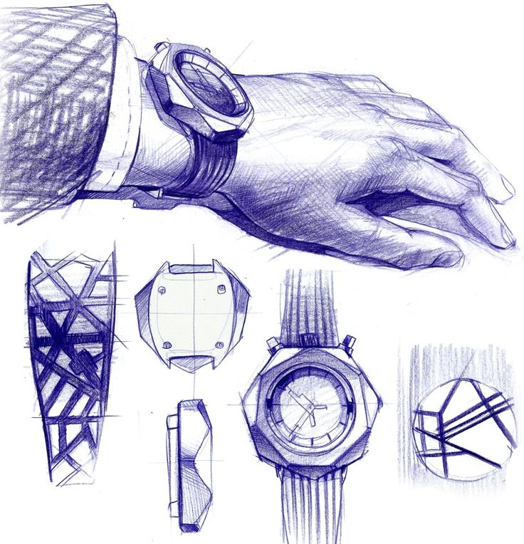 Sketches for Concrète watch project