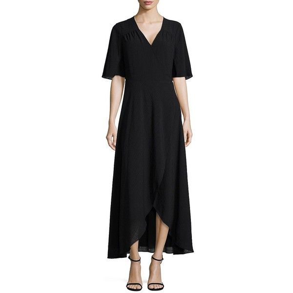 Halston Women's Short Bell Sleeve Dress ($83) ❤ liked on Polyvore featuring dresses, black, mullet dresses, short front long back dresses, short in front long in back dress, tie dress and flared sleeve dress