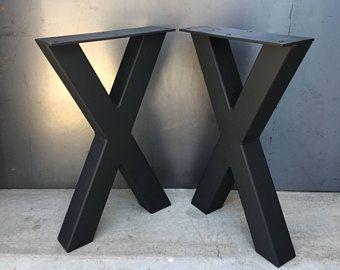 Jambe De Forme En Acier 2 X 2 X Lot De 2 Pied De Table Métal Pied