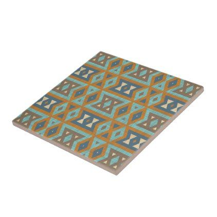 Teal Turquoise Orange Brown Eclectic Ethnic Look Tile - rustic gifts ideas customize personalize