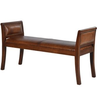 A tasteful bench with a traditional style. Covered in an italian vintage leather with studding on the right and left winged arms - all complemented with a mahogany style frame. http://www.petersilk.co.uk/product.php/1674/leather-brown-bench