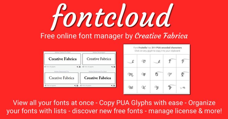 Fontcloud is an free, easy to use online font manager. With fontcloud you can view all your installed fonts, manage their licenses, create lists and discover new fonts.