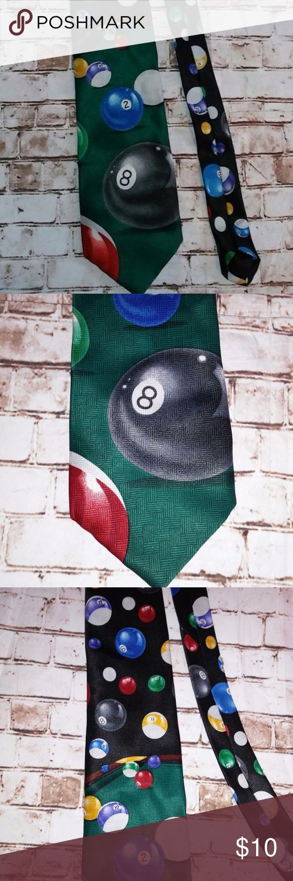 Mens Billiards Tie ADDICTION Men's Novelty Tie--Features a billiards theme with pool table, 8 ball, and other balls. A great novelty tie for the pool shark in your life. Great condition with no visible flaws or defects Addiction Accessories Ties