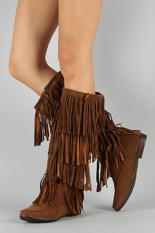 Breckelle Chicago-12 Fringe Moccasin Knee High Boot. Minnetonka BootsKnee  ...
