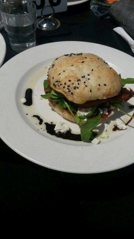 """Breakfast burger"" french toast bun,bacon,feta,relish,mesculin,avocado,balsamic reduction. 6/10"