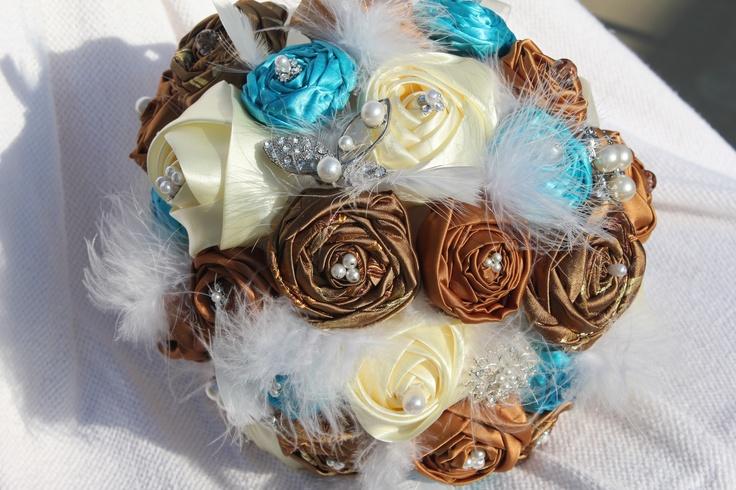 Blue Brown Wedding Bouquets : Satin wedding bouquet malibu blue brown n ivory