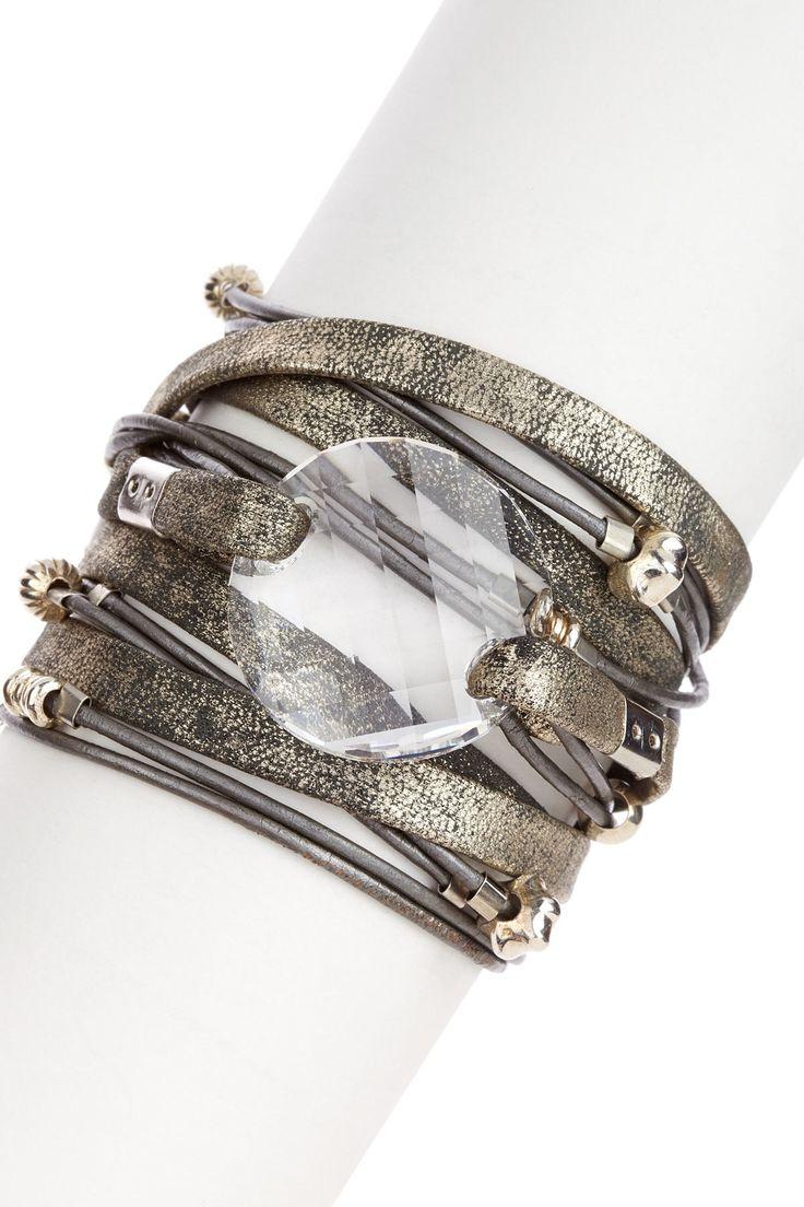 Sara Designs Swarovski Crystal Leather Wrap Bracelet