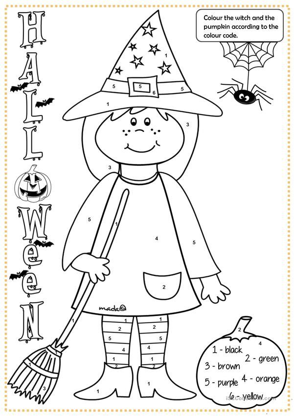Halloween Witch Colouring Halloween Worksheets Halloween Math Halloween Worksheets Free