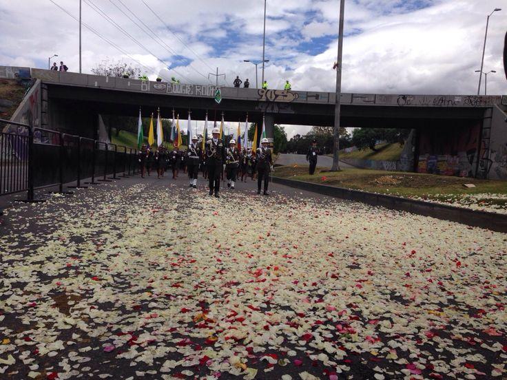 Un camino adornado de pétalos, al paso de nuestros policías de Colombia. #20DeJulio