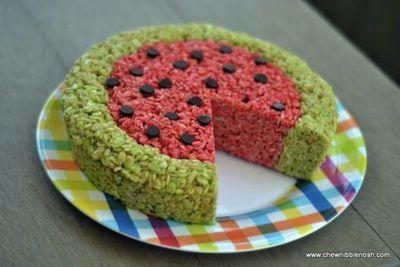 Watermelon Rice Krispies Treat