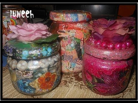 decoupage method using empty jar