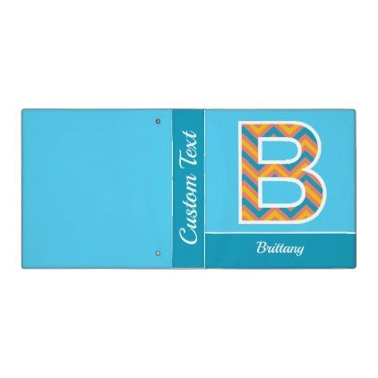 Chevron Monogram Letter B Binder - baby gifts child new born gift idea diy cyo special unique design