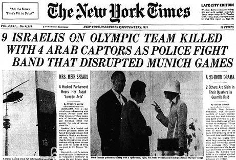 Munich Massacre, September 5 & 6, 1972, Munich, West Germany,New York Times Headlines