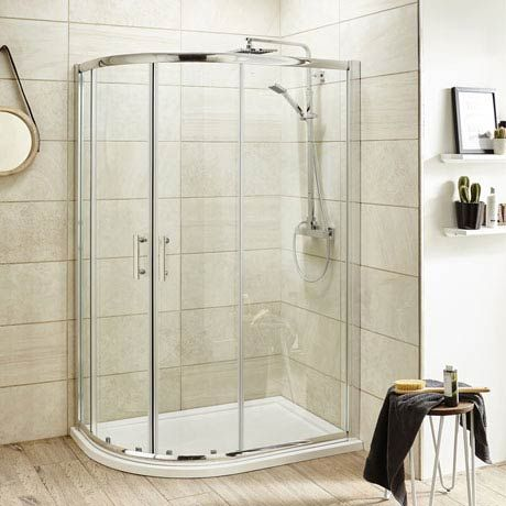 1000x800mm Pacific Offset Quadrant Shower Enclosure inc Tray