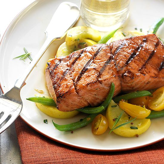 Salmon fillets and steaks are naturals for both charcoal and gas grilling