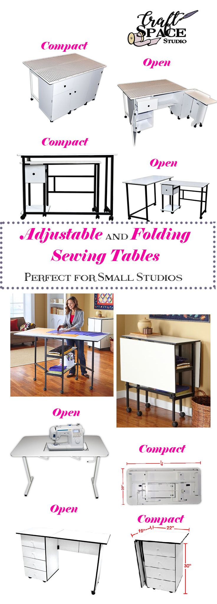 Adjustable Workspace Sewing Tables, Great For Small Spaces Or To Stow Away