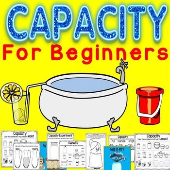 These Capacity printables are perfect when introducing the concept of capacity to young learners during your measurement unit. This capacity unit includes some introduction slides, a hands-on capacity activity with a recording sheet, several simple practice pages, and a literature connection activity.