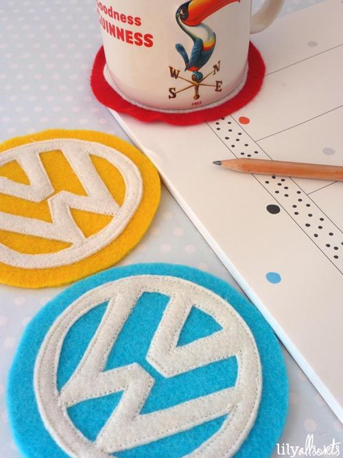 Volkswagen VW Felt Coasters. A cute fun craft! By Lily Allsorts