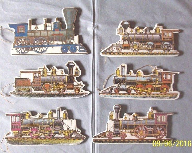 6 Vintage Steam Train Engine Christmas Ornaments Merrimack Publishing Corp. 1989
