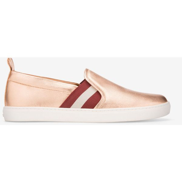 Bally HENRIKA Women's leather trainers in pink gold ($395) ❤ liked on Polyvore featuring shoes, sneakers, bally shoes, grip shoes, leather sneakers, slip-on sneakers and bally sneakers