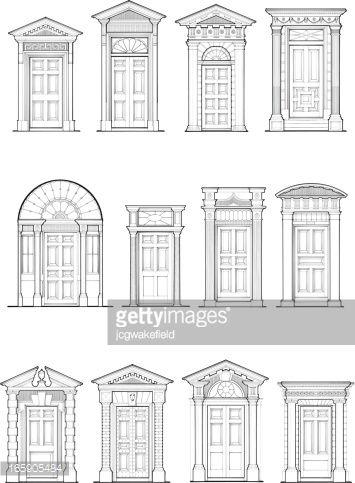 Georgian Door Details Vector Art Abstract, Architectural Column, Architectural Feature, Architecture, Architrave, Building...