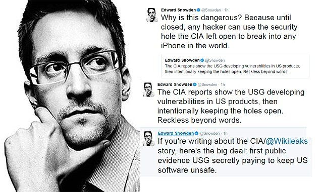 """#DailyMailUK .... """"Edward Snowden is making explosive claims about some of the information revealed in the latest Wikileaks hack, which he says proves that the government is keeping software unsafe.""""... http://www.dailymail.co.uk/news/article-4290906/CIA-hack-offers-proof-govt-keeps-software-unsafe.html"""